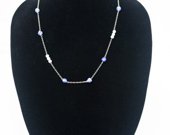 Blue and Pearl Chain Necklace