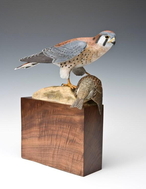 American kestrel falcon bird wood carving sculpture