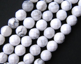 Howlite Beads, Faceted Beads, 8mm Beads, White Howlite, Natural White Howlite, 8mm Gemstone Beads, 6mm Beads, Faceted Gemstone, White Beads