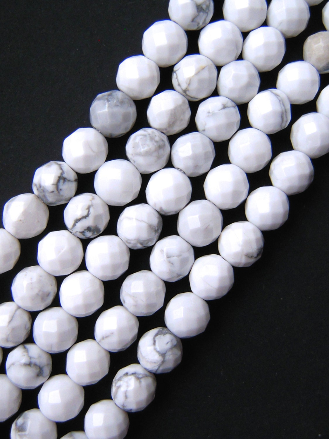 Howlite Beads Faceted Beads 8mm Beads White Howlite