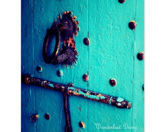 Blue Wall Art, Rustic Door, Morocco Photography, Turquoise, Bright Blue, Cottage chic, Marrakech Fine Art Photography, Home Decor, Fine Art