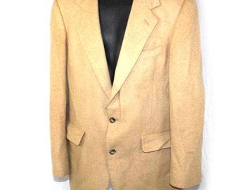 Vintage Mens Blazer Jacket  100% Camel Hair Mens Blazer Tan Nordstroms Jacket Sz M