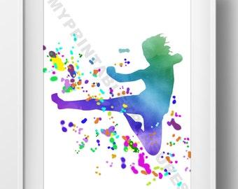 Martial Arts Wall Art, Karate Gift, Tae Kwon Do Sign, Kung Fu Art, Water Color Room Decor, Kick Silhouette Artwork, Digital Download