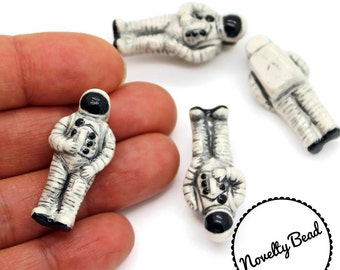 4 - Large - Astronaut Beads - Outer Space Beads - NASA - Novelty - Ceramic