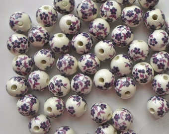 20 X Stunning Purple Hand Printed Round Porcelain Ceramic Flower/Floral Beads 14mm P17