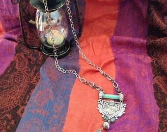 SALE!! Seashell Crystals Charm Tassel Necklace