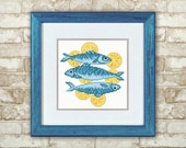 Cross Stitch Pattern PDF - Fish. Оriginal gift, design in blue, pattern for embroidery, Hand Made pattern.