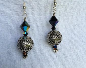Black Aurora Swarovski & Silver Earrings