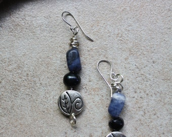 Lapis and freshwater pearl wire wrapped dangle earrings
