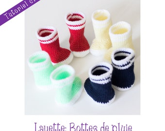 Crochet Pattern: rain boots for babies - Instant Download -