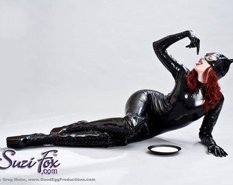Catwoman Catsuit Costume in Stretch Gloss Vinyl PVC by Suzi Fox.