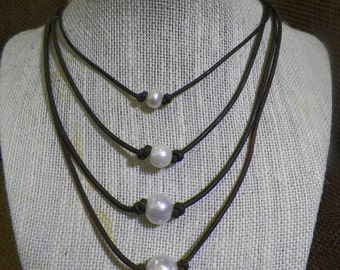Large Freshwater Single Pearl Necklace 11mm - 13mm