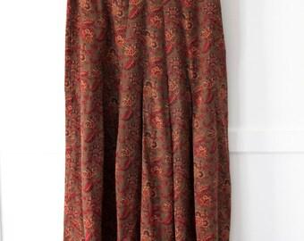 Ann Taylor Long Pleated Skirt - 100% silk paisley green - sz 25in