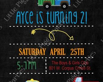 Cars and Truck Birthday Invitation