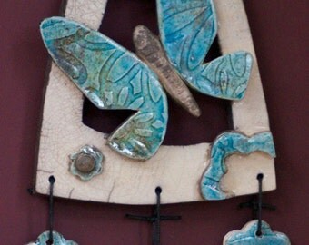 Butterfly and flowers wall-hanging