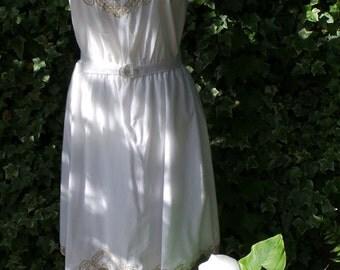 1970s White Summer Dress