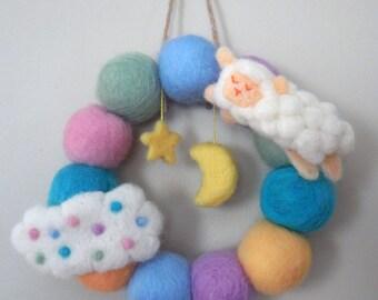 Felted Animal Wreath-Felted Colorful Wreath-Baby Room Wreath-Cute Animal Wreath-Moon and Star Wreath-Cute Home Decor Wreath