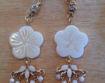 Bridal white dangle earrings
