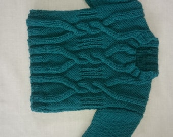 Hand-knitted baby boys cable knit jumper