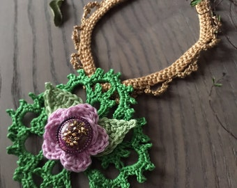 Spring -  Handmade Crochet Necklace with czech glass button