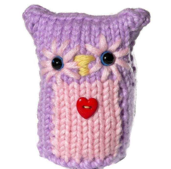 Purple Pink Knitted Owl Amigurumi OwlsTeachers Gift Home