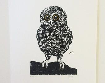 Linocut Owl Print // Hand printed