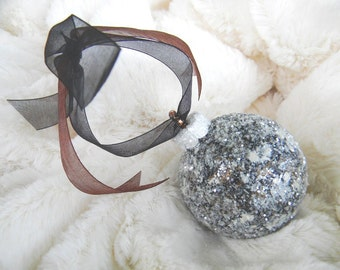 Glass Christmas Ornaments, Modern, Contemporary, Painted Ornaments, Christmas Tree Ornaments, Holiday Ornament, Christmas Balls, Brown Black