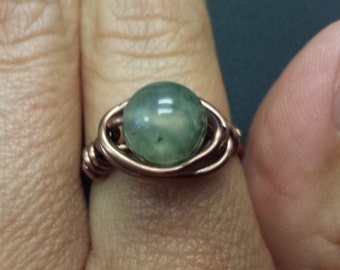 WIRE WRAPPED RING Prehinite in Antiqued Copper Handmade