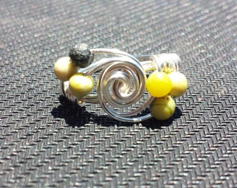 WIRE WRAPPED RING Serpentine Twist Ring in Silver Handmade