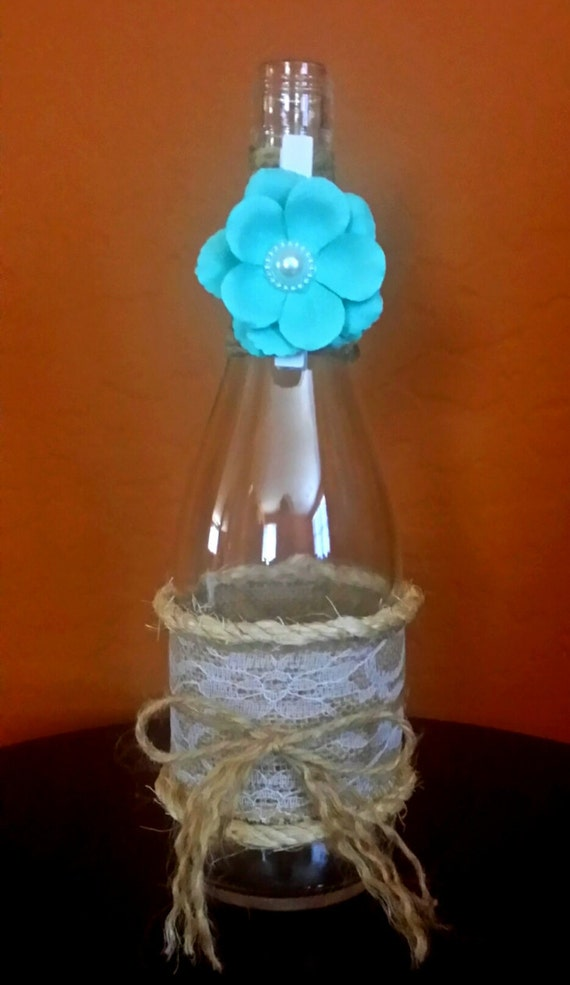 Hand made upcycled and decorated wine bottle w flower pin for Wine bottles decorated with flowers