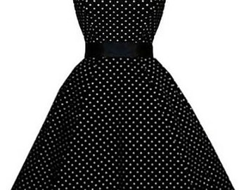 SALE - Eliazabeth Stone, 'Merle' beautiful Rockabilly, Swing Pin Up Plus Size Dress in Black