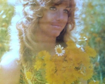 Vintage Flower Child 1972~JUST FOR TODAY~Pearl McGinnis Quote Poster