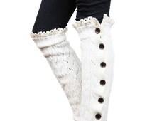 Girls Leg Warmers Ivory by Modern Boho