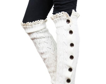 Girls Leg Warmers Ivory by Modern Boho