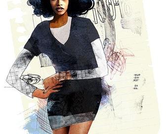 Art Print Black Model Wall Poster Wall Decor Watercolor  Painting  Fashion Woman Wall Art Prints Portrait
