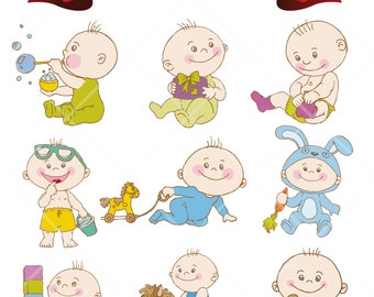 Baby Boys Digital Clip Art Nursery Decor Baby Shower Embellishments Scrapbook Png Printable Clipart Instant Download Commercial Use