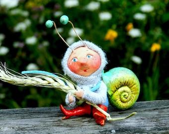 Snail Art doll snail Polymer clay figurine Snail art doll ooak doll polymer clay snail cute art snail figurine clay snail