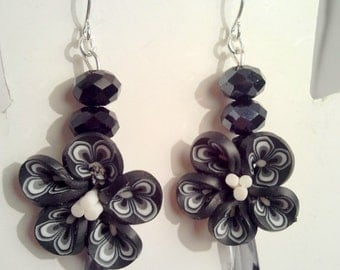 Black Flower Earrings, Black earrings, Bollywood earrings, Silver earrings, Dangle earrings, Boho earrings
