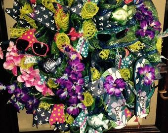 Deco Mesh Wreath, Flip Flop Wreath, Summer Wreath, Summer Decoration, Summer Front Door Hanger, Mothers Day Wreath, Summer Door Wreath