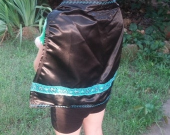 Black Satin Princess Cape with Teal Blue Ribbon