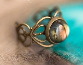 Elven ring Labradorite - Art pattern