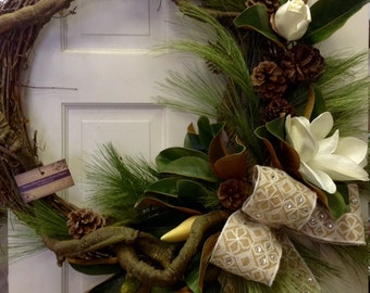 Faux Magnolia Wreath with Jeweled Burlap Bow and Pine Cones