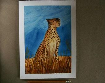 Leopard in savannah - Animal Watercolor Painting