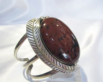 Brazalete-pulsera in Mexican silver with red Jasper natural stone