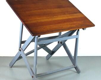 Vintage Dietzgen Industrial Wood Folding Artist Drawing Drafting Table