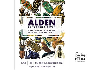 Insect Birthday Invitation / Bug Birthday Invite / Boy Animal Invitation / Beetle Grasshopper Invite / Vintage Colorful Invite / Digital