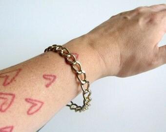 SALE vintage chain link bangle bracelet . hard metal bangle . stacking bracelet