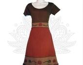 Organic cotton and Hemp Dress - Roses Print - Handmade and dyed - Custom made to order Organic cotton and Hemp jersey