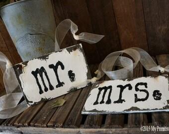 Mr and Mrs Signs. Wedding Chair Signs. Wedding Reception. Wedding Decor. Rustic Wedding.