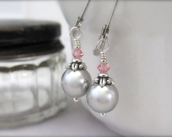 Silver Gray Pearl Earrings, Swarovski Crystal Pearls, Pink Gray Earrings, Silver Plated Lever Back Earrings